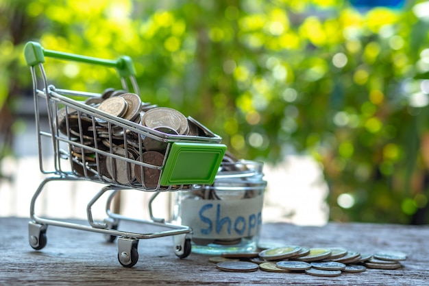 Shopping cart and stack of coins