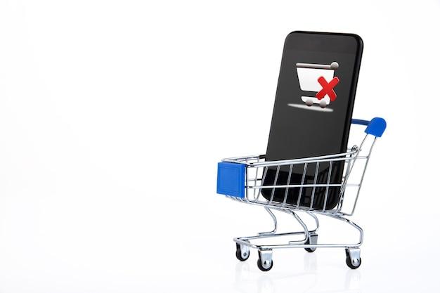 Тележка для покупок, тележка для супермаркета, электронная коммерция, цифровая коммерция, розничная торговля на белой поверхности.