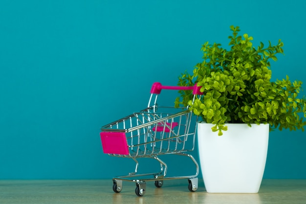 Shopping cart or supermarket trolley with little decoration tree