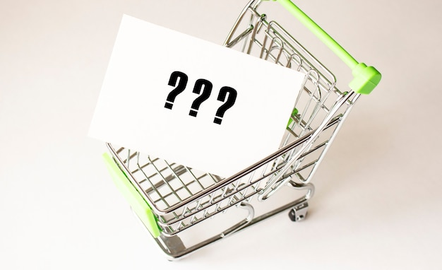 Shopping cart and text on white paper. shopping list concept on light background.