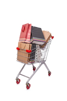 Shopping cart trolley isolated