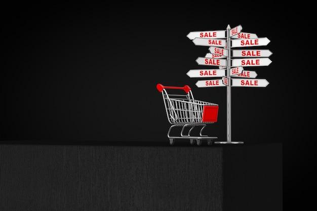 黒の背景に黒い立方体の上の販売標識付きのショッピングカートトロリー。 3dレンダリング