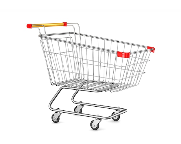 Shopping cart on white space. isolated 3d illustration