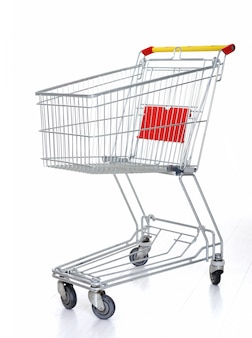 Shopping cart on white