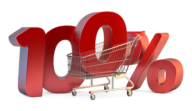Shopping cart with 100 discount sign 3d illustration isolated