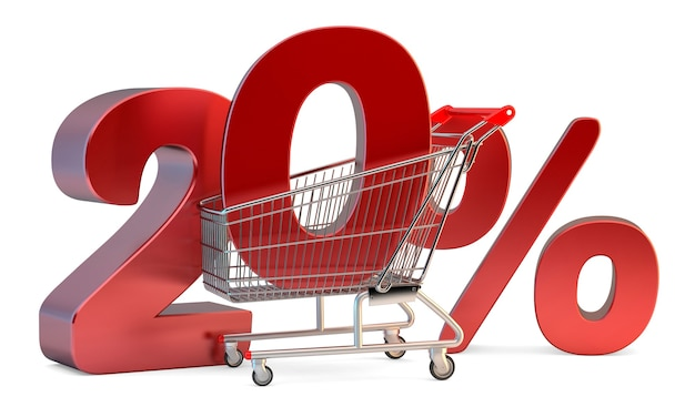 Shopping cart with 20% discount sign. 3d illustration. isolated. contains clipping path