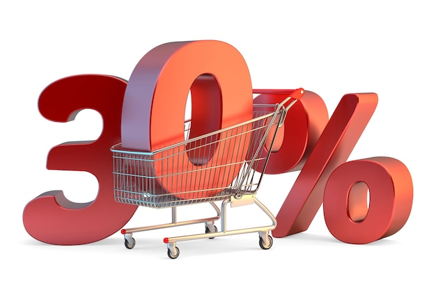 Shopping cart with 30 percent discount sign 3d illustration isolated