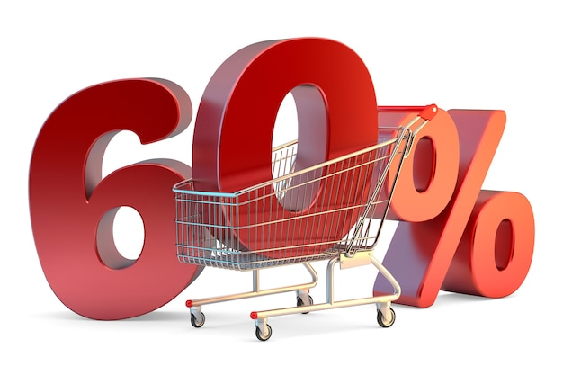 Shopping cart with 60 discount sign 3d illustration isolated