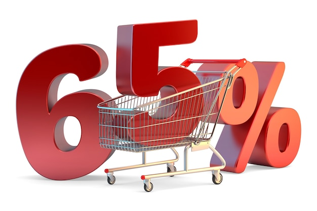Shopping cart with 65% discount sign. 3d illustration. isolated. contains clipping path