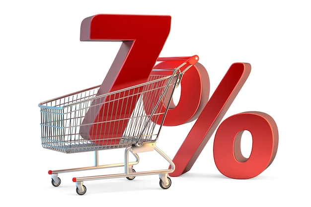 Shopping cart with 7% discount sign. 3d illustration. isolated. contains clipping path