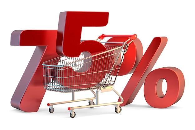 75%割引サイン3dイラストが分離されたショッピングカート