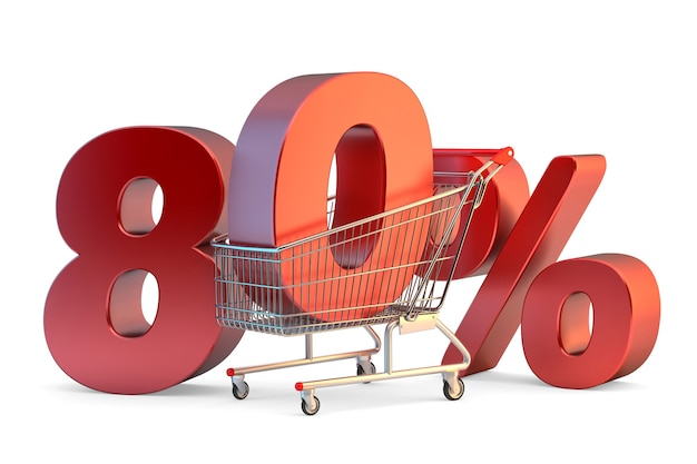 Shopping cart with 80% discount sign. 3d illustration. isolated. contains clipping path