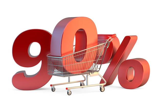 Shopping cart with 90 discount sign 3d illustration isolated