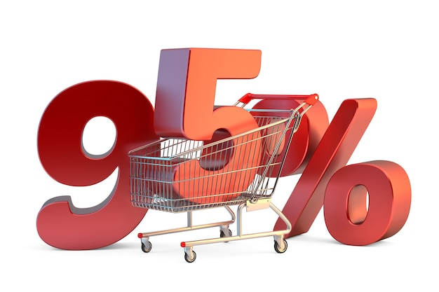 Shopping cart with 95 discount sign 3d illustration isolated