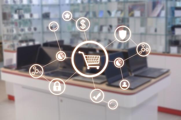 ネットワーク付きのショッピングカート。ショップ。ショッピングのコンセプト