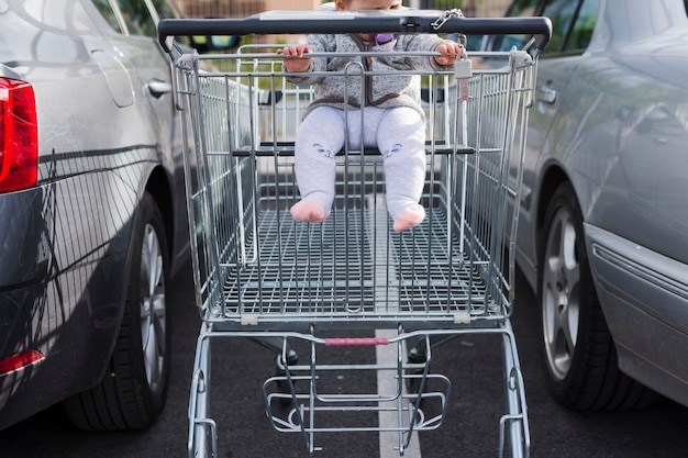 Shopping cart with a baby