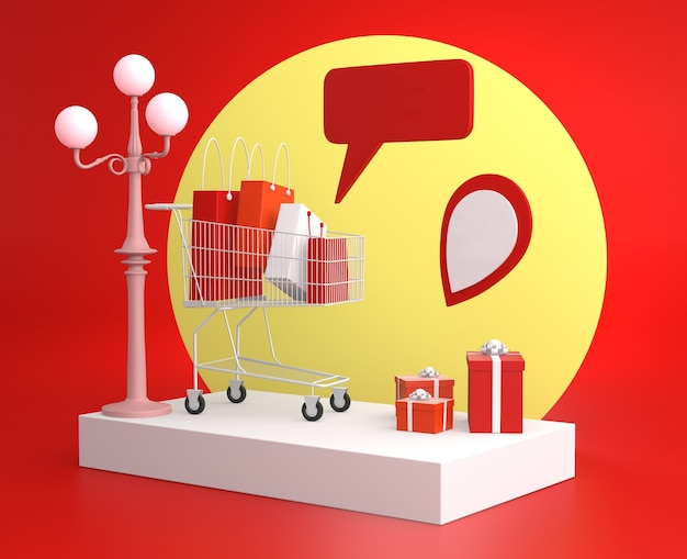 Shopping cart with bags and gifts for online commerce