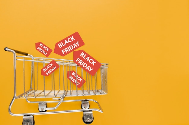 Shopping cart with black friday stickers