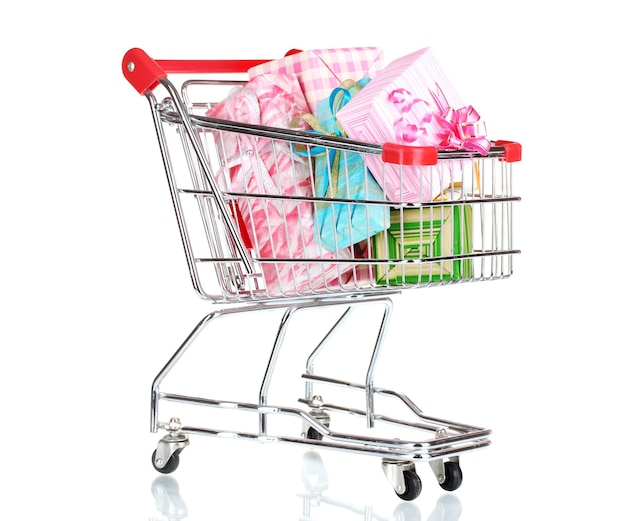 Shopping cart with bright gifts isolated
