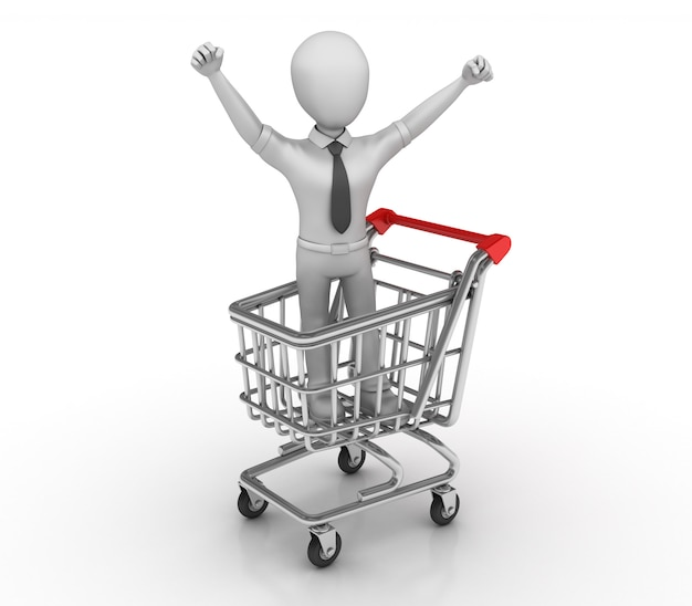 Shopping cart with cartoon business person