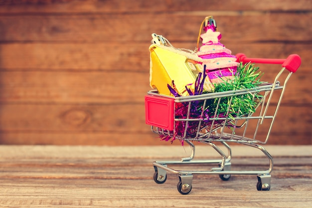 Shopping cart with christmas decoration