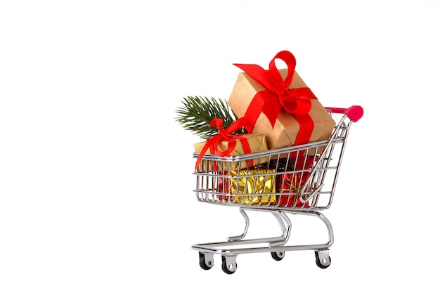 Shopping cart with christmas decorations
