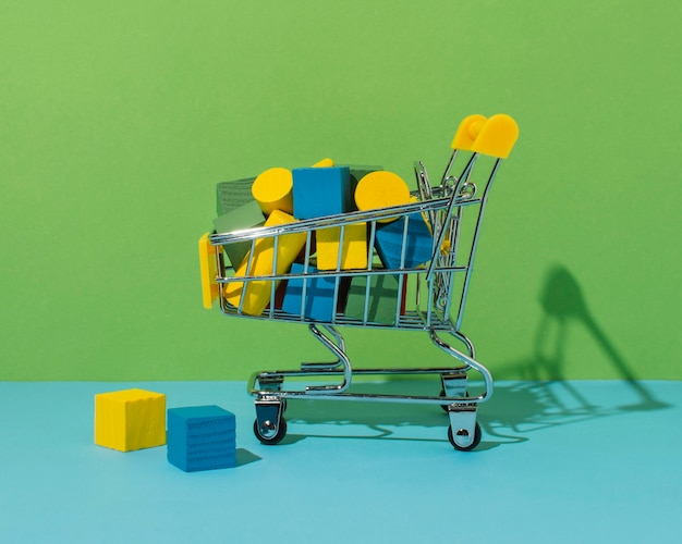큐브와 실린더가있는 쇼핑 카트