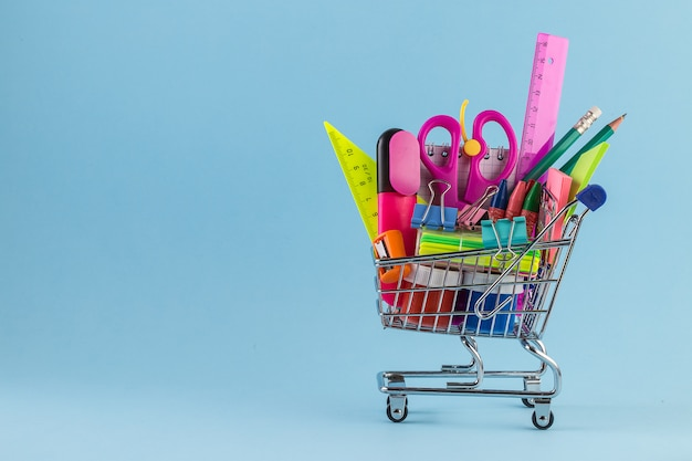 Shopping cart with different stationery