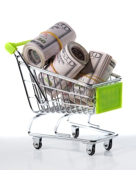 白で隔離された内部のドルとショッピングカート