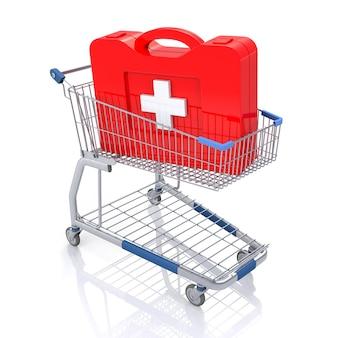 応急処置キット付きのショッピングカート。白で隔離。