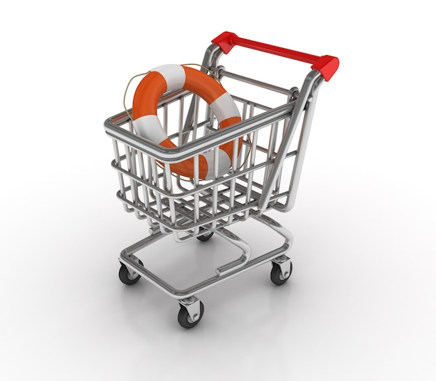 Shopping cart with life belt