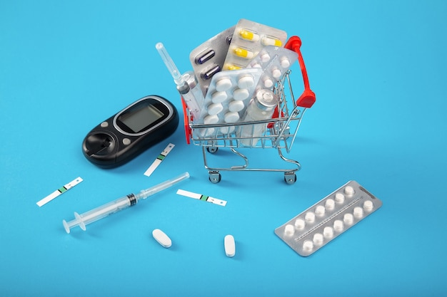 Shopping cart with medication and insulin syringes from diabetes. online pharmacy concept.