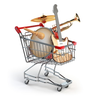 Магазинная тележкаа с музыкальными инструментами, изолированными на белом. гитара, труба и барабан. 3d иллюстрация