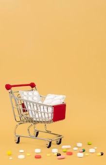 Shopping cart with pill foils and copy space