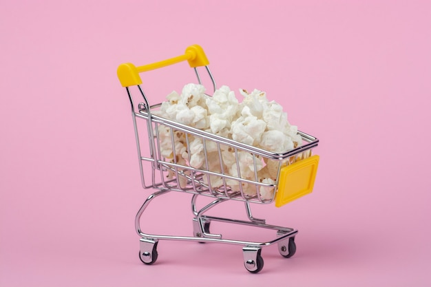 Shopping cart with popcorn
