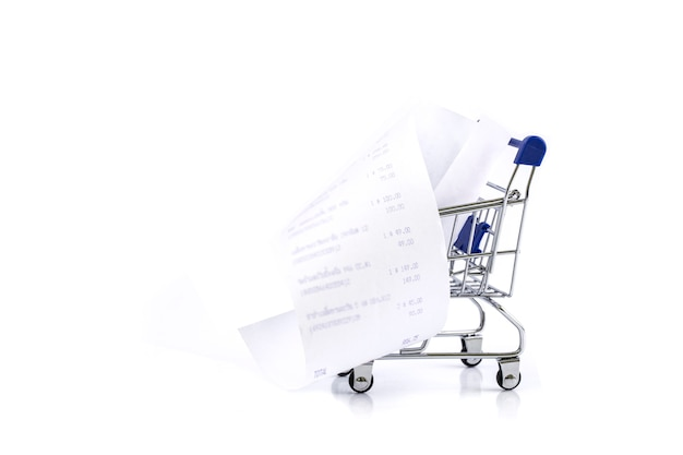 Shopping cart with receipt isolated on white background