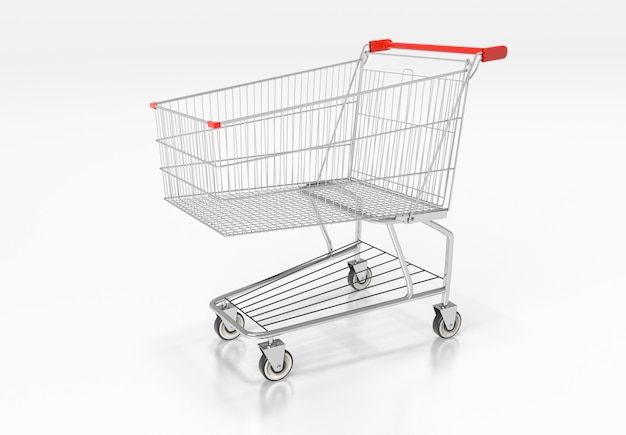 Shopping cart with red handle on glossy white glossy. 3d render