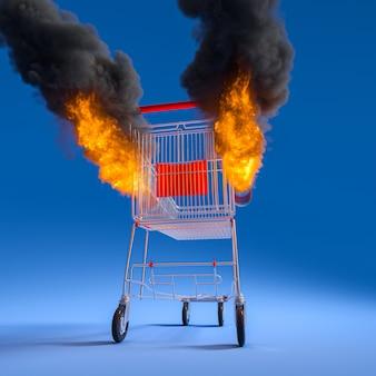 Магазинная тележкаа с ракетами с пламенем и дымом. 3d визуализация.