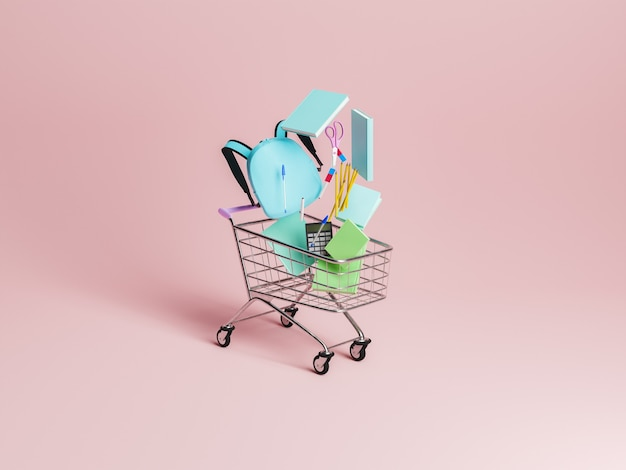 Shopping cart with school supplies falling inside it with minimalistic background