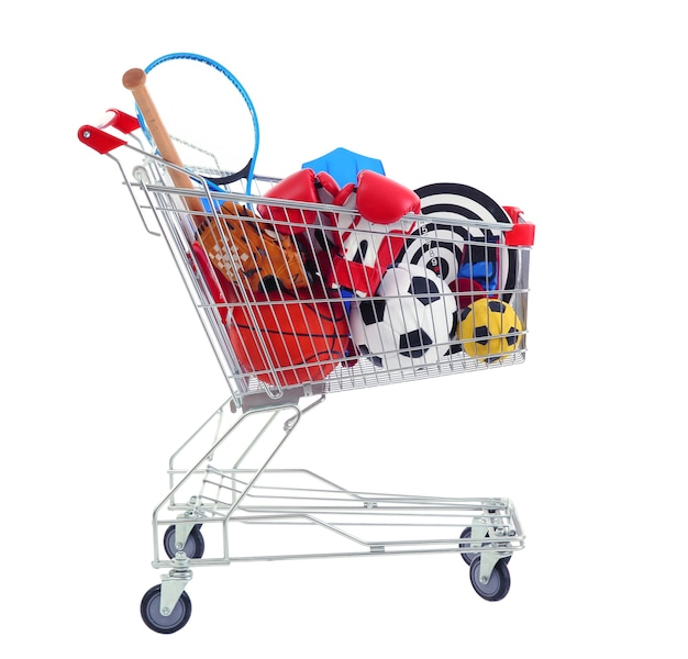 Shopping cart with sport equipment,d on white