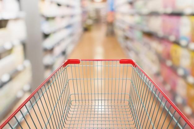 Корзина с фоном супермаркета