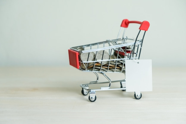 Shopping cart with a tag