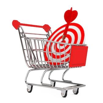 白い背景の上のダーツとしてターゲットとショッピングカート。 3dレンダリング。