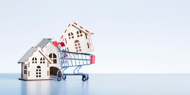 Shopping cart with wooden model of house. buy or sell property concept. banner.