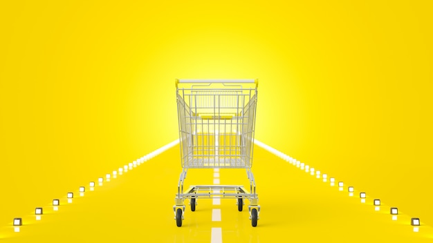 Shopping cart on the yellow road