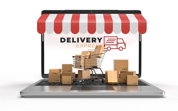 전자 상거래 온라인 쇼핑 비즈니스에서 쇼핑 카트, 노트북으로 포장 된 판지 포장은 운송을 기다리고 있습니다. 전자 제품의 인터넷 개념을 통한 온라인 서비스. 3d 렌더링