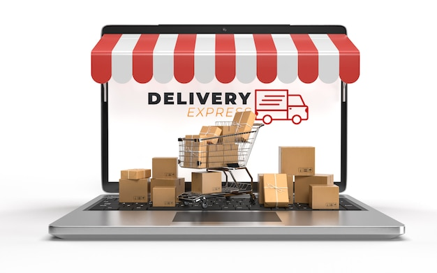 Shopping carts, cardboard packing with a laptop are waiting for transportation in e-commerce online shopping businesses. services online over the internet concept of electronics. 3d rendering