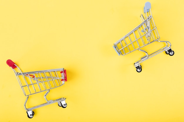 Shopping carts facing each other