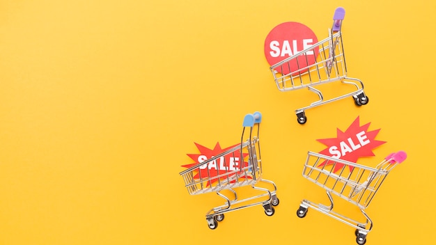 Shopping carts holding sales badges
