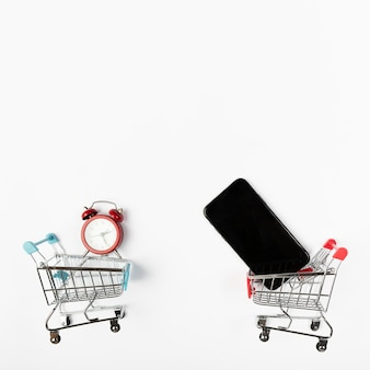 Shopping carts with phone and alarm clock
